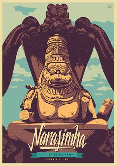 Discover India - Hampi, the City of ruins, a retro poster series by Ranganath Krishnamani. Ranganath Krishnamani, a Bangalore, India based designer and Art And Illustration, Illustrations Posters, India Poster, Hampi, India Art, Cultural, Vintage Travel Posters, Sculpture, Art Sketches