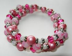 Hot Pink and Pearl Memory Wire Bracelet by CloudNineDesignz, $8.00