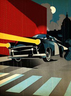 Tavis Coburn - Nicolas Beltran for American Express Car Illustration, Graphic Design Illustration, Graphic Art, Pop Art, Ligne Claire, Design Graphique, Portfolio, Illustrations Posters, Vector Art