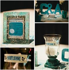 """Aqua & white engagement party guestbook """"tip jar"""" table #DIY"""