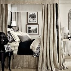 Neutral color scheme onDemere Bed from Ralph Lauren Home.