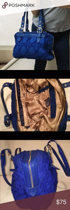 🚨Stuart Weitzman blue nylon brocade bag + dustbag This is a show stopper! First real splurge when bought it new. Amazing blue nylon with lattice brocade design. Dual-zip closure. Blue leather trim, handles, and zipper pulls. Gold hardware. Cream satin interior with interior zip and 2 pouches for phones. Such an awesome statement bag - roomy too! **Includes dust bag** Stuart Weitzman Bags Shoulder Bags