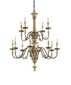 """View the Currey and Company 9040 Adara 39""""H 12 Light Chandelier with Optional Customizable Shades at LightingDirect.com."""