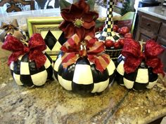 Black & White Check Fall Pumpkin With Red Bow by regalpeacock