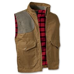 www.Filson.com | Filson Oil Finish Shelter Cloth Eastlake Waxed Vest - A functional vest with waxed weather protection