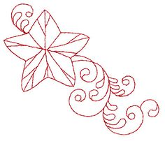 Christmas Star Redwork embroidery design