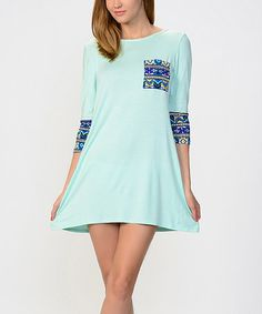 This Mint Geo Pocket Shift Dress is perfect! #zulilyfinds