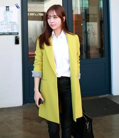 Lime Yellow Women Casual Office Chic Trendy Modern Coat Jacket Outerwear