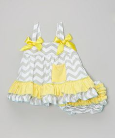 Gray & Yellow Zigzag Swing Top & Diaper Cover - Infant