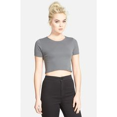 Topshop Rib Crop Tee ($14) ❤ liked on Polyvore featuring tops, t-shirts, charcoal, rib tee, topshop, crop t shirt, summer tees and crop top