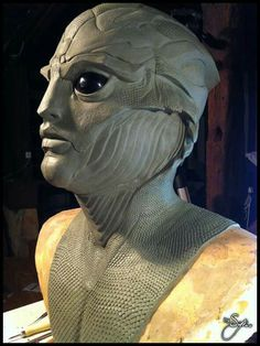 Thane Krios from Mass Effect - Plasteline lifesize bust side view by Thomas Buhan (Syn)
