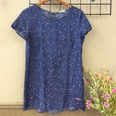 Noble U Jean Dress Dark blue jean dress with distressed polka dots. Key hole button back. Short sleeve. Rests at low hip. Noble U Dresses Mini