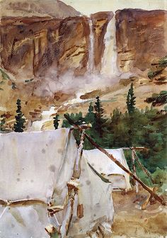 The Athenaeum - Camp and Waterfall (John Singer Sargent - )