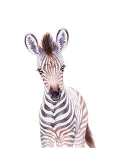Baby Zebra Watercolor, Baby Animals by lanakat Art Print by lanakat - X-Small Zebra Drawing, Zebra Painting, Zebra Art, Baby Animal Drawings, Cute Drawings, Zebra Illustration, Baby Animal Nursery, Baby Zebra, Baby Animals Pictures