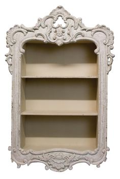 Beautiful Shabby Chic Off White French Style Wall Storage Unit / Shelf