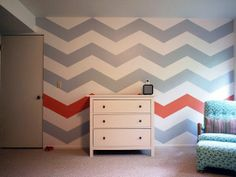 Chevron Accent Wall with one accent color