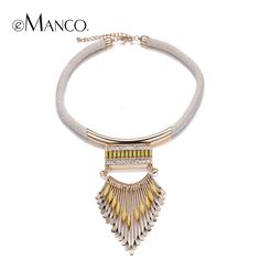Zinc alloy gold pendants weave jewelry eManco acrylic alloy tassel collares populares 2015 fashion necklace for women NL12733