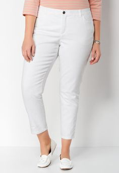 Signature Slimming White Denim Plus Size Ankle Pant