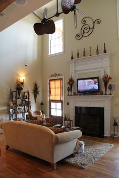 Mantel with tons of detail -- there isn't a lot of room between the mantel and tv.  Here are some ideas for scale.