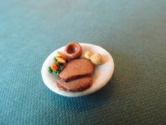 Roast Beef Dinner Plate for Dolls house made from Polymer Clay