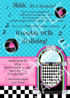 Custom themed party invitations and supplies, sock hop, diner 1950s Theme Party, 50s Theme Parties, Diner Party, 75th Birthday Parties, Moms 50th Birthday, 50th Party, Fifties Party, Birthday Ideas, Grease Party