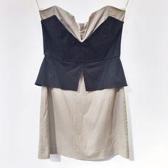 Mason | geometric strapless dress Size 6. Fits true to size. No trades. Strapless with black overlay. Mason Dresses Strapless