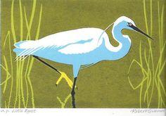 Little Egret by Robert Gillmor Vogel Illustration, Artwork Prints, Poster Prints, Stained Glass Birds, Bird Quilt, Bird Drawings, Linocut Prints, Bird Art, Stone Painting