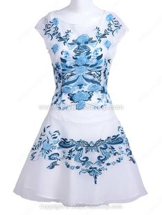 White Blue Flower Embroidery Cap Sleeve Sheath Dress