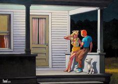 Tintin Hopper Summer Evening oil painting reproduction on canvas, handmade by our studio's skillful artists. Edouard Hopper, Album Tintin, Blake Et Mortimer, Bd Art, Comics Illustration, Oil Painting Reproductions, Pulp Art, Comic Book Artists, Humor