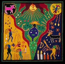 Mexico's Huichol resource page: their culture, symbolism, art : Mexico Culture & Arts Family History Book, Yarn Painting, Hispanic Culture, Mexico Culture, Mexican Designs, Outsider Art, Folk Art, Art Pieces, Kids Rugs