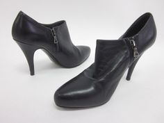 AUTH PRADA Black Leather Pointed Toe Side Zip Booties Shoes Sz 36 6 at www.ShopLindasStuff.com