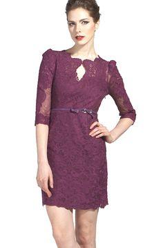 Purple Half Sleeve Scallop U Neckline Lace Bodycon Dress