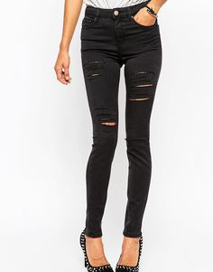 ASOS+Ridley+High+Waist+Skinny+Jeans+in+Washed+Black+with+Extreme+Thigh+Rips