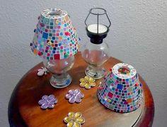Windlicht Teelicht Laterne Mosaik von Meine kleine kunterbunte Welt - abstrakte Acrylbilder und Gartendekoration aus Mosaik auf DaWanda.com
