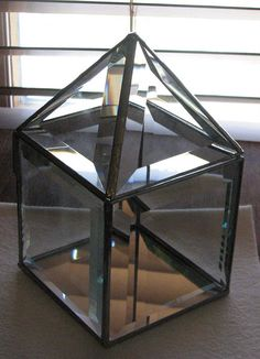 Clear beveled glass box 4 x 4 inches square with a pyramid shaped hinged lid