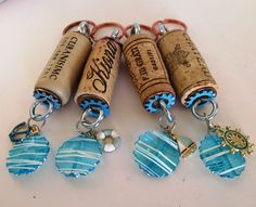 Wine Cork Keychains group of four Beach themed charms just for you and your friends by EmsJewelry on Etsy