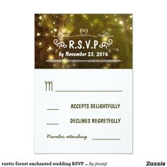 rustic forest enchanted wedding RSVP cards