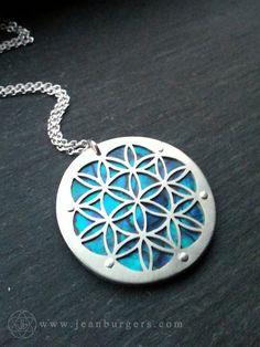 Large Blue Flower of Life pendant on by JeanBurgersJewellery