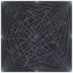 Lines from Corners, Sides and the Center, to Points on a Grid (Black) BY SOL LEWITT