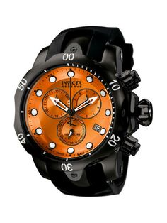 Men's Venom Round Black & Orange Watch by Invicta Watches