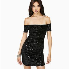 Sexy Off-shoulder Slash Neck Sequins Dress