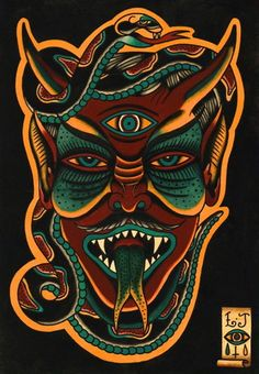 Luke Jinks Devil Tattoo Flash | KYSA #ink #design #tattoo