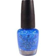 "OPI ""Last Friday Night"" by Katy Perry, $8, I'm obsessed with sparkles, bright colors and this song, haha. So naturally I am drawn to this polish. Its super sparkly & looks enchanting over a light blue. =)"