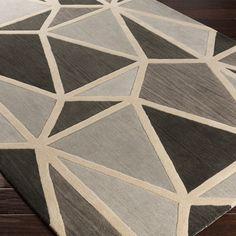 Surya Oasis Mosaic Gray Hand Tufted Wool Rug @Zinc_Door