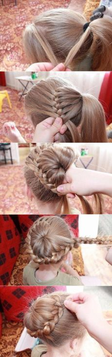 Such a simple, but beautiful hairstyle for a girl. The most beautiful hair ideas, the most trend hai Fancy Hairstyles, Little Girl Hairstyles, Braided Hairstyles, Wedding Hairstyles, Beautiful Hairstyle For Girl, Short Hair Styles, Natural Hair Styles, Pretty Braids, Toddler Hair