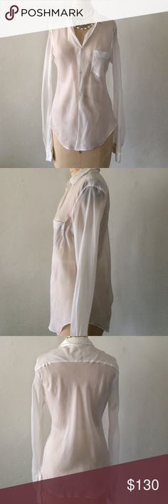 "Vintage Comme des Garçons Sheer White Blouse Sz M Great! Style: short with collar Body length:  29.5"" Bust: 35"" Sleeve type:  28"" Color:  white  Fabric: woven  Pre-owned:  please note two small holes at front tail of short.  Care label has been removed from garment. Comme des Garcons Tops Button Down Shirts"