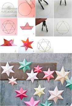 tutoriel en photos - comment réaliser des étoiles origami de Noël