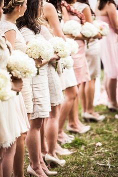 bridal bouqet bridesmaid hydranges blush pink and ivory