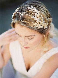 Gilded gold leaves triple headband, gold metal hair vine, silver headpiece, garden bridal tiara, bridal headpiece, Grecian beaded crown