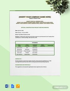 Instantly Download Construction Project Management Meeting Minutes Template, Sample & Example in Microsoft Word (DOC), Google Docs, Apple (MAC) Pages, Format. Available in A4 & US Letter Sizes. Quickly Customize. Easily Editable & Printable. Microsoft Publisher, Microsoft Word, Business Letter Format, Meeting Agenda Template, Docs Templates, Word Doc, Letter Size, Project Management, Company Names
